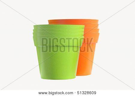Orange and green color flower pots
