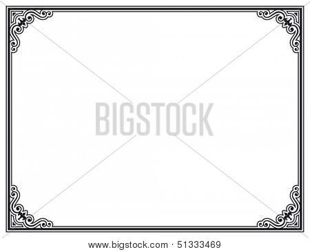 black and white decorative vector frame