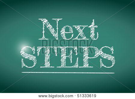 Next Steps Message Written On A Chalkboard.