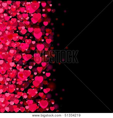 Dark background with red blurry hearts, illustration poster