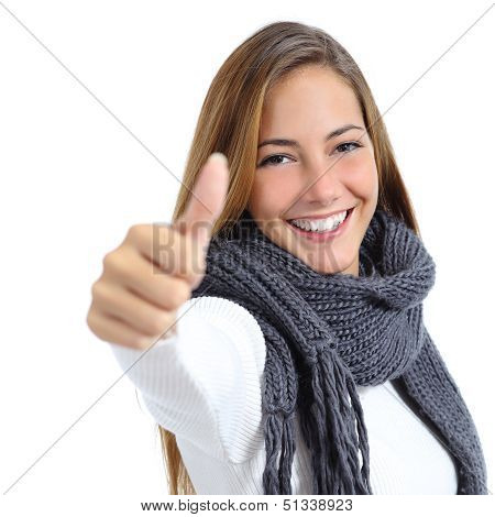 Beautiful Woman Happy In Winter Isolated