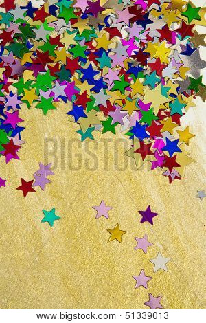Colorful Stars On Gold Background, Portrait