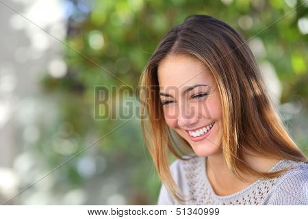 Beautiful Woman Laughing Happy Outdoor