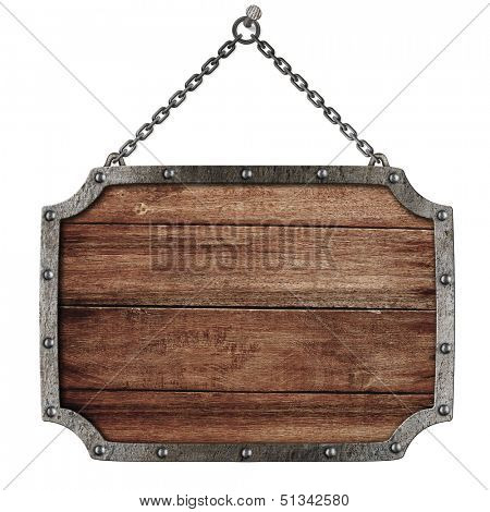 medieval road signboard with chains hanging on nail isolated