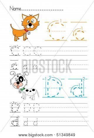Alphabet handwriting C D