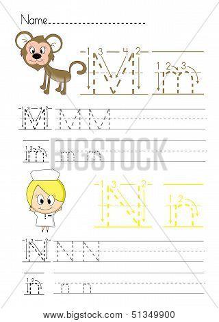 Alphabet handwriting M N
