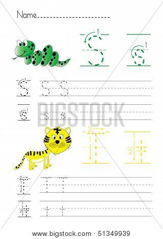 Alphabet handwriting S T
