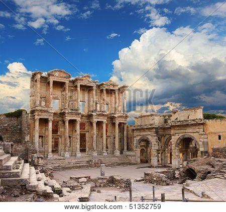 Celsus Library in Ephesus over moody sky  Turkey poster