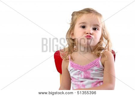 Toddler girl very bored her lips and shoulders are showing the the boredom poster