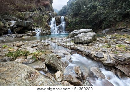 Double Waterfall And Stream