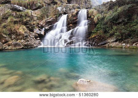 Double Waterfall In Spring
