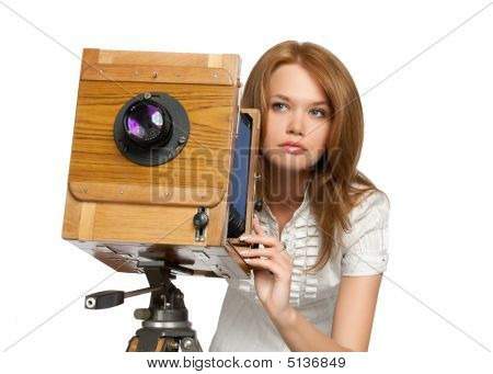 Pretty Woman Shooting Photoes With Vintage Camera