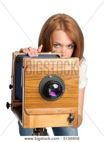 Pretty Woman Posing Vintage Camera
