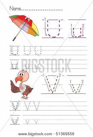 Alphabet handwriting U V
