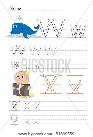 Practise alphabet handwriting letters Y Z  on white paperworksheet poster