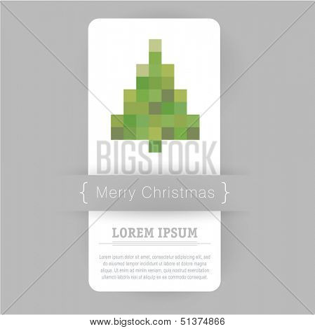 Minimal pixel graphic christmas card. Vector. poster