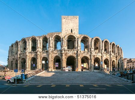 The Arles Amphitheatre, Roman Arena In French Town Of Arles