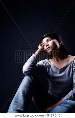 Contemplate Woman In Dark