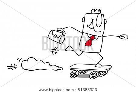 speed businessman . Businessman Skater, rushing for something.