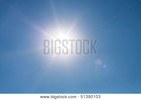 Real photo lens glow effect of sun on clear blue sky poster