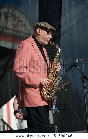 MOSCOW - SEPTEMBER 7: Saxophonist Aleksej Kozlov performs at Usadba Jazz Festival in Kuskovo Mansion on September 7, 2013 in Moscow. This festival was held on the Day of Moscow and was free to visit