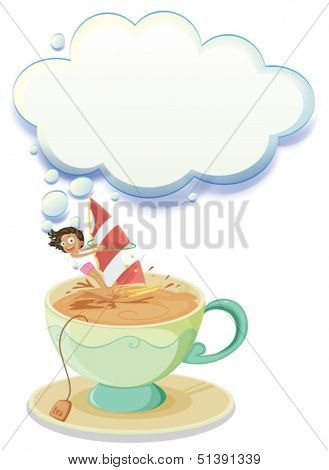 Illustration of a girl sailing over a big cup of tea with an empty callout on a white background