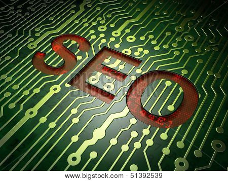 Web design concept: circuit board with word SEO