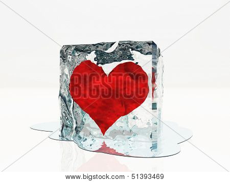 Heart frozen in ice