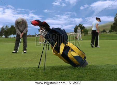 Golf Scene (focus On Golf Bag)