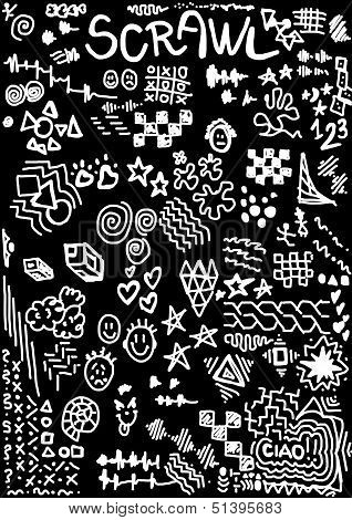 scrawl black and white