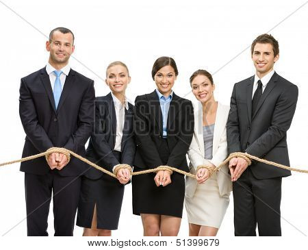 Hands of group of managers are tied with rope, isolated on white. Concept of routine work and slavery