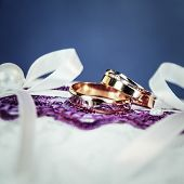 Beautiful golden rings with diamonds for him and for her poster