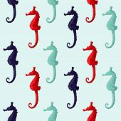 Abstract red and blue seahorse isolated on a background poster