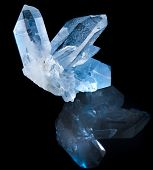 Lovely terminated white rock crystal against black background poster