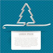 Simple minimal folded paper christmas card. Vector. poster