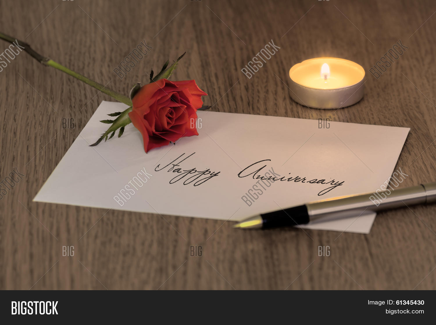 love letter with a rose candle