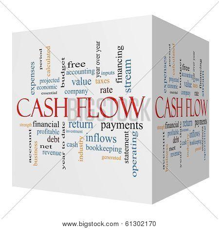 Cash Flow 3D Cube Word Cloud Concept