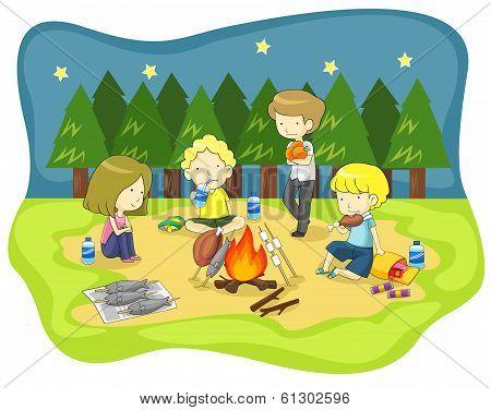 Children Campfire In The Wilderness At Night (vector)