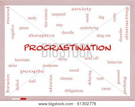 Procrastination Word Cloud Concept On A Whiteboard