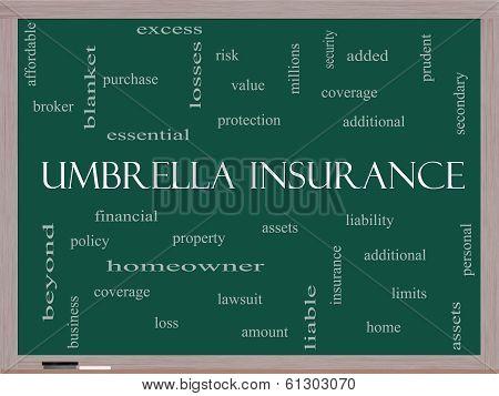 Umbrella Insurance Word Cloud Concept On A Blackboard