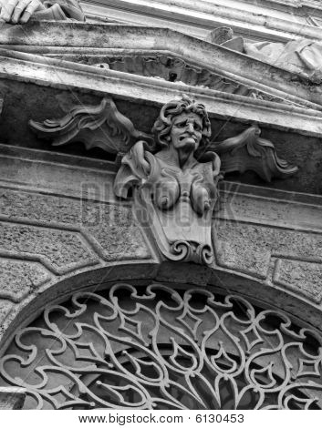 Bas-relief Of Mythic Old Harridan With Wings