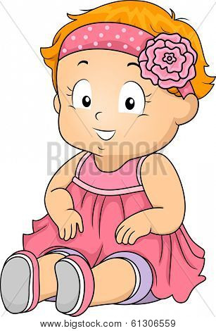 Illustration of a Baby Girl Wearing a Lacey Headband with a Flower Attached