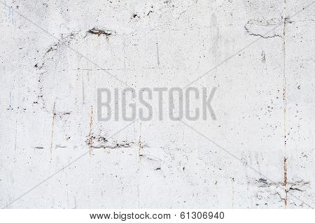 Background texture of white concrete wall with steel reinforcement poster