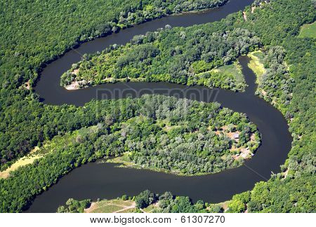 Zigzag river. Aerial view.