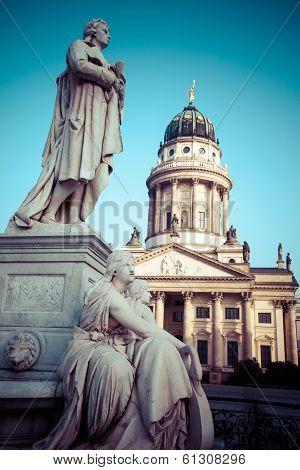 Gendarmenmarkt In Berlin, Germany. View On German Cathedral And Konzerthaus.