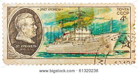 Stamp Printed In Ussr Shows The Ship Ernst Krenkel