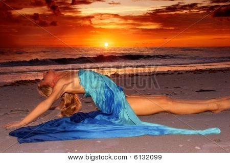 Stretched Out On Beach