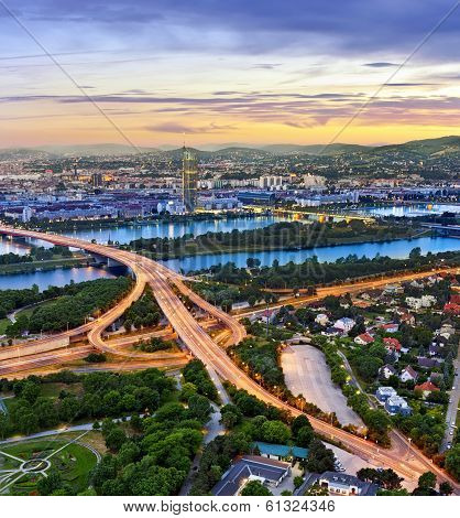 Cityscape of Vienna with the Danube River