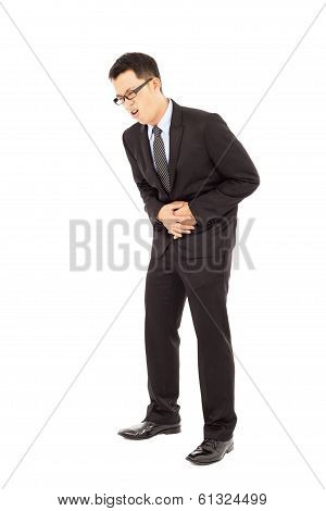 Businessman holding his stomach in pain isolated on white background poster