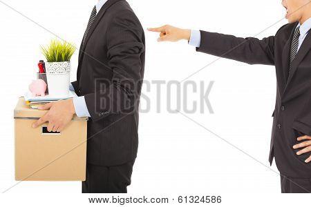Boss Dismisses Employee . Isolated On White Background